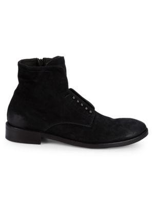 JO GHOST Suede Stacked Heel Booties in Black