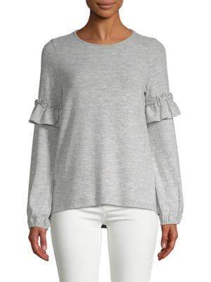 DESIGN HISTORY Ruffle-Sleeve Sweater in Grey