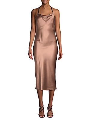 Cowlneck Silk Midi Dress