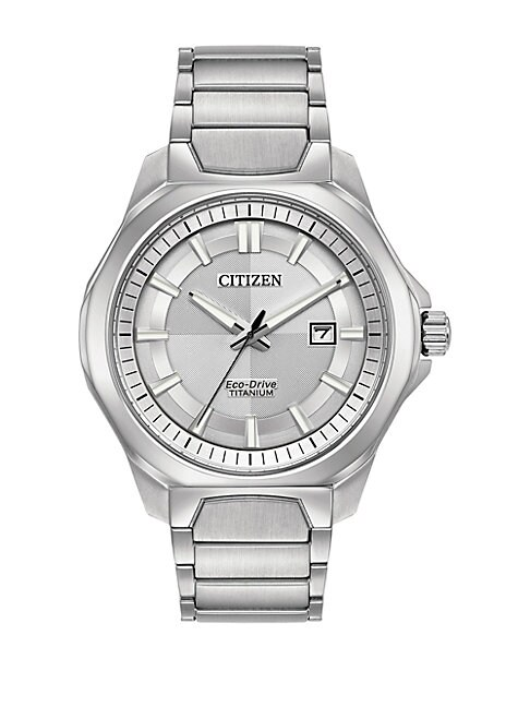 Ti+Ip Eco-Drive Titanium Analog Tonal Dial Bracelet Watch, Silver