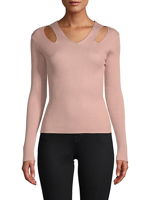 Endless Rose Ribbed V-Neck Sweater