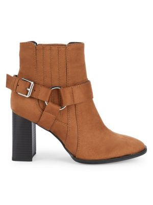 Agnes Dream Microsuede Block Heel Booties in Chocolate