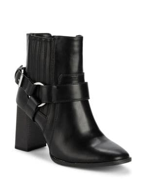 Agnes Stack Heel Moto Boots in Black