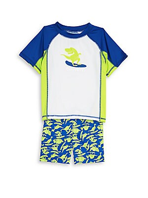 Little Boy's Two-Piece Dino Mite Rash Guard and Shorts Set