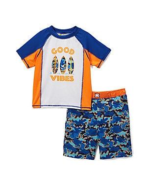 Little Boy's Good Vibes Two-Piece Rash Guard and Swim Shorts Set