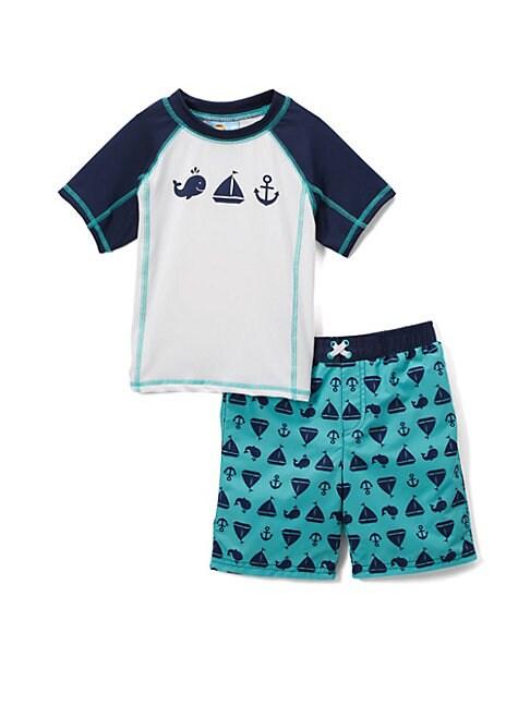 Little Boy's Come Sail Away Two-Piece Rash Guard and Swim Shorts Set