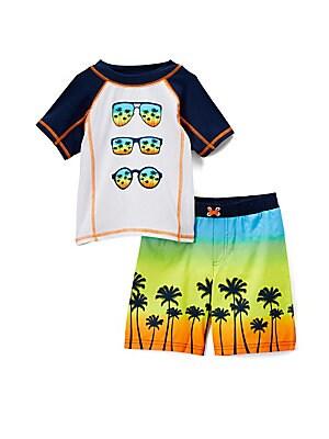 Little Boy's Come Tropical Paradise Two-Piece Rash Guard and Swim Shorts Set