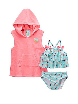 Baby Girl's Heartbreaker Three-Piece Coverup and Two-Piece Swimsuit Set
