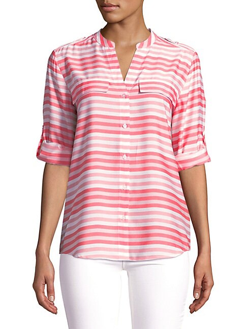 Splitneck Stripe Utility Blouse