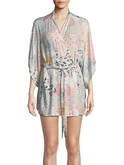 Tropical Print Wrap Robe