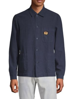 THE KOOPLES SPORT Patched Button-Down Shirt in Blue