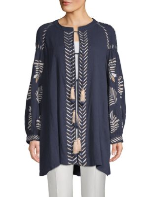 KAS NEW YORK Riely Embroidered Cotton Tie-Front Tunic in Navy