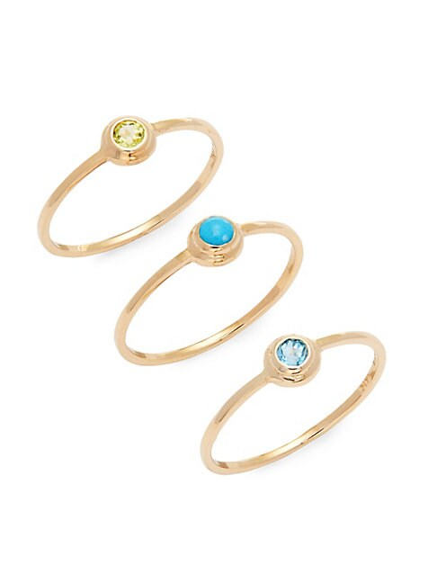 Anzie SET OF THREE MULTI-STONE AND 14K GOLD RINGS