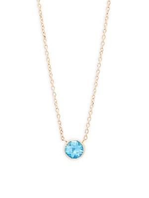 Anzie Classique 14K Yellow Gold & Blue Topaz Pendant Necklace