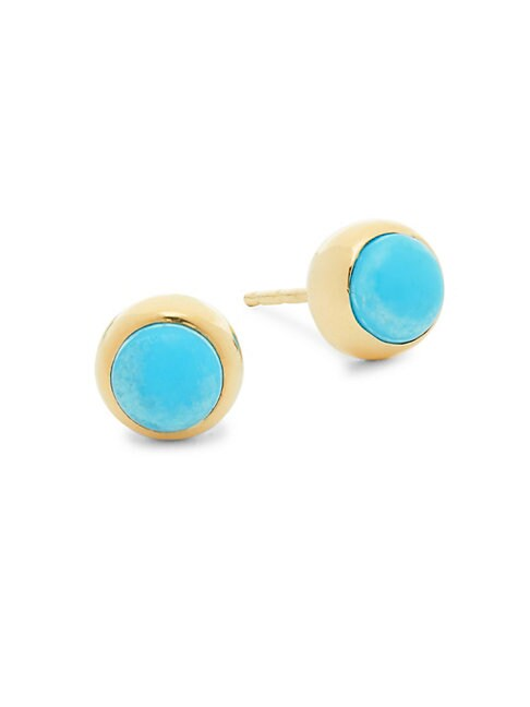 Classique 14K Yellow Gold & Turquoise Stud Earrings
