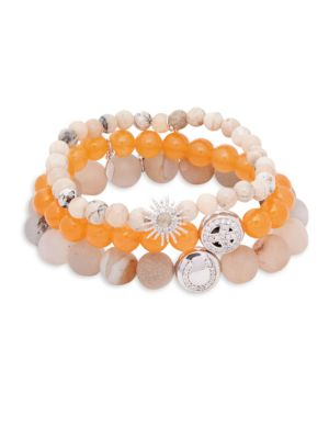 Anzie Boheme Orange Jade, Opal, White Topaz & Sterling Silver Beaded Bracelet