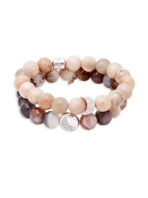 Anzie Boheme White Topaz, Moonstone & Sterling Silver Beaded Bracelet