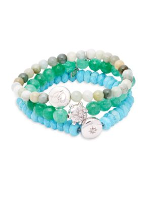 Anzie Set of Three Boheme Green Jade, Turquoise, White Topaz & Sterling Silver Beaded Bracelets