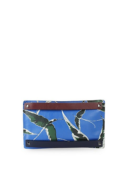 Printed Small Leather Clutch