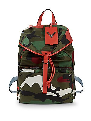 Leather-Trim Camo Backpack