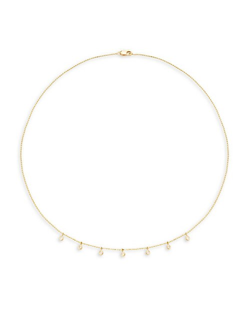 14K YELLOW GOLD DIAMOND DROPS NECKLACE
