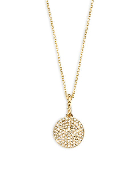 DISC PAVE DIAMOND AND 14K YELLOW GOLD PENDANT NECKLACE