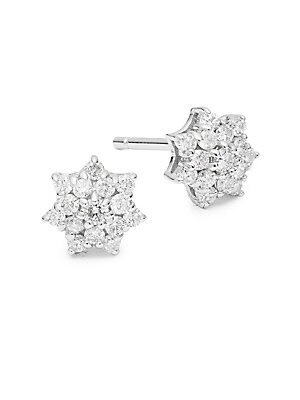 Diamond And 14 K White Gold Starburst Stud Earrings by Kc Designs