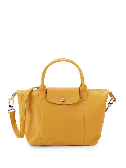 Small Le Pliage Cuir Leather Top Handle Bag
