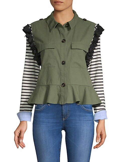 ENGLISH FACTORY Striped-Sleeve Tassel-Trim Utility Jacket in Green
