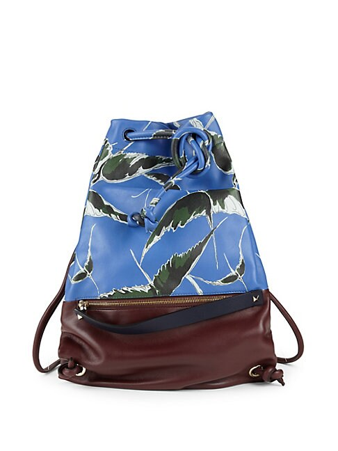 Bird Print Leather Backpack