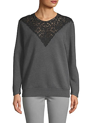 Long-Sleeve Ribbed Lace Top