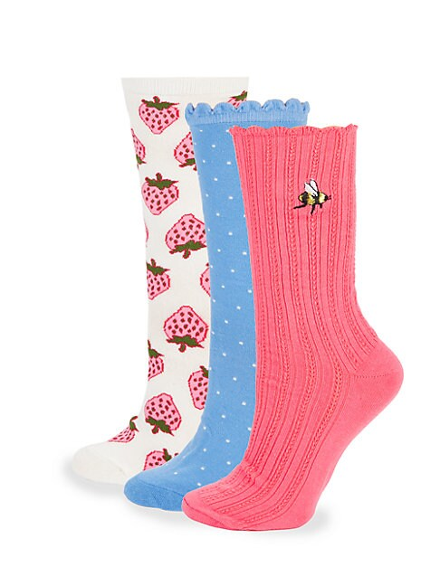 Three-Pack Strawberry Crew Socks