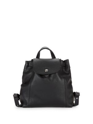 3aba14014af Longchamp Le Pliage Leather Backpack In Black   ModeSens