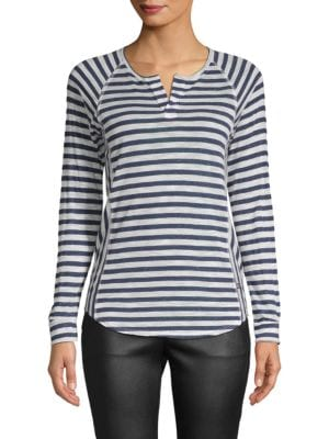 BODY LANGUAGE Gaby Raglan-Sleeve Tee in Navy Stripe