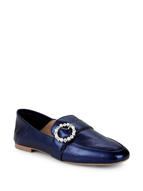AVA & AIDEN | Aspen Embellished Buckle Loafers | Goxip