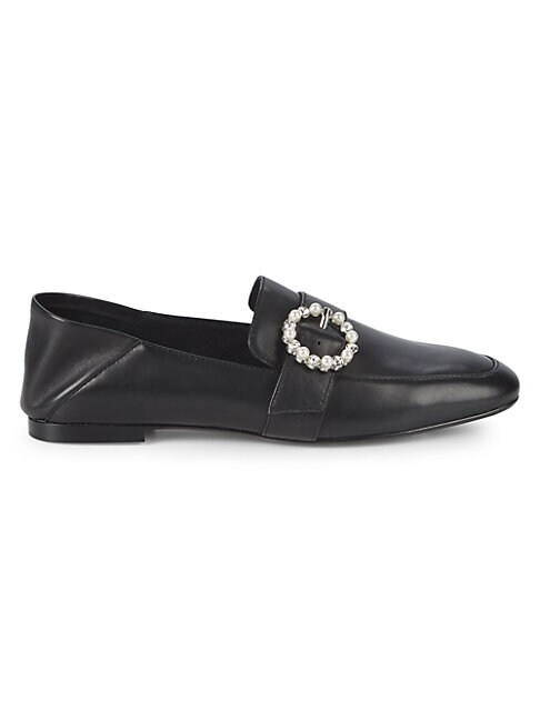 Aspen Embellished-Buckle Leather Loafers