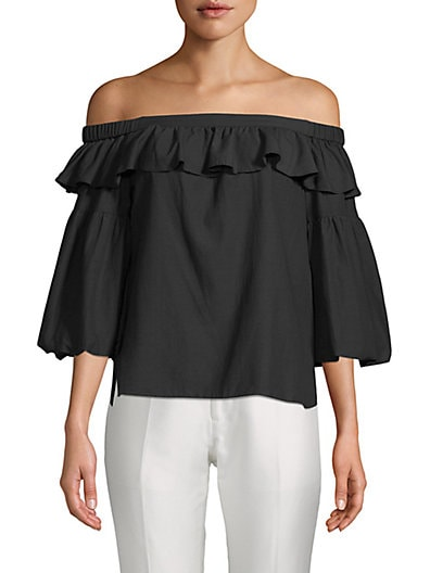 1b4e8bb8494ae3 BCBGMAXAZRIA Bell-Sleeve Off-The-Shoulder Top ...