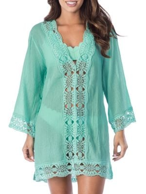 LA BLANCA SWIM Island Fare Cotton Tunic in Seafoam