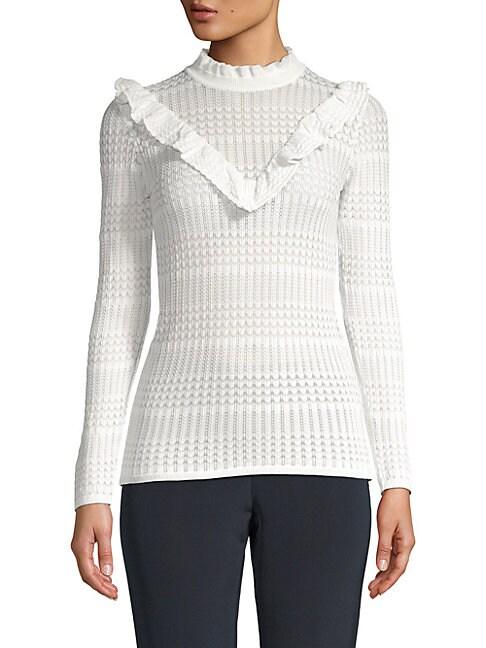 FEW MODA Ruffled Stitch Sweater in White