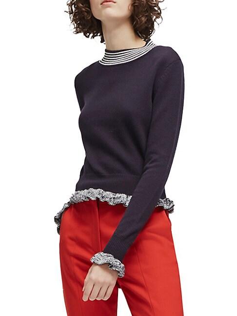 Knit Ruffle-Trim Sweater