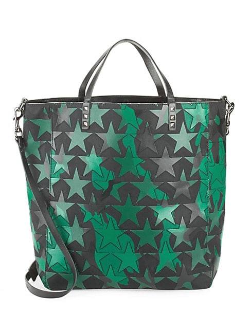 Star-Print Leather Tote