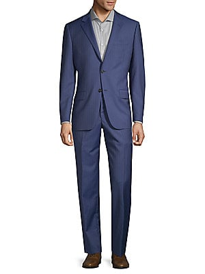 Regular-Fit Pinstripe Wool Suit