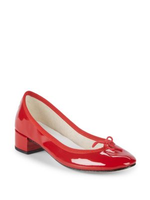 REPETTO Bow Patent Leather Pumps in Red