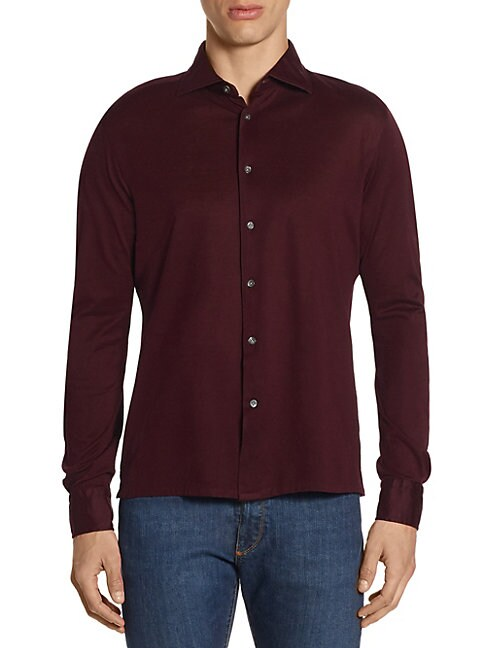 LUCIANO BARBERA Long Sleeve Cotton Button Down Shirt in Blue