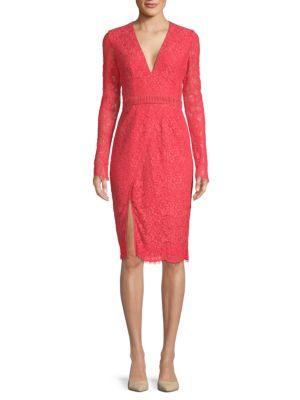 STYLESTALKER Sabine Long-Sleeve Dress in Coral