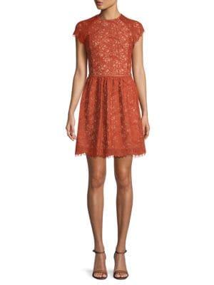 STYLESTALKER Laylor Lace Cotton Dress in Brown