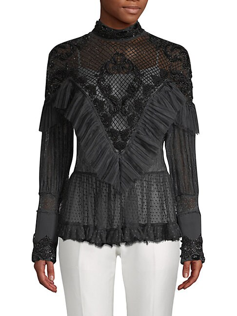 Romantic Beaded Silk Blouse