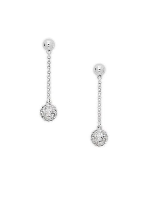 EFFY | Diamond Ball Drop Earrings in 14 Kt. White Gold 0.68 ct. t.w. | Goxip