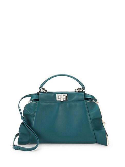 Peek-A-Boo Leather Top Handle Crossbody Bag