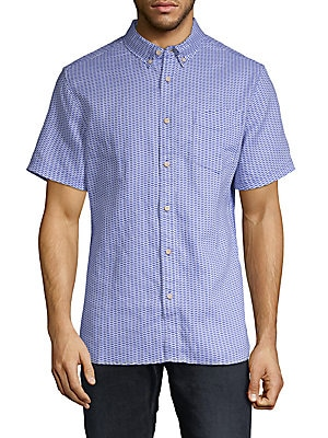 SURF SIDE SUPPLY Printed Linen Button-Down Shirt in Blue